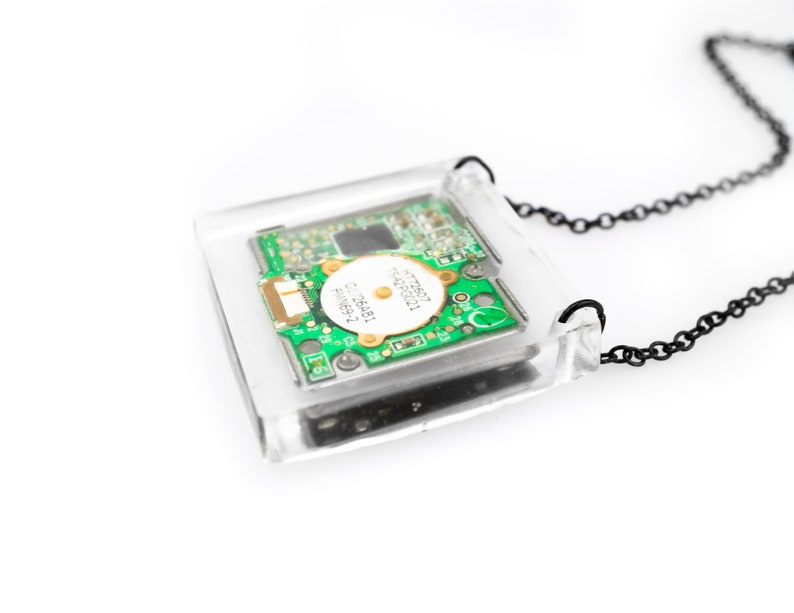 Circuitboard Computer Pendant Upcycled Tech Jewelry image 0