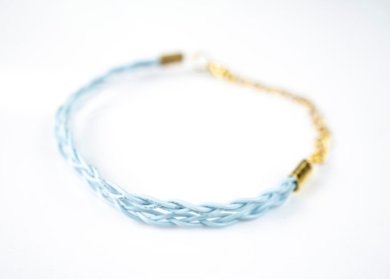 Pastel Braided Bracelet Computer Wire Bracelet Upcycled image 0