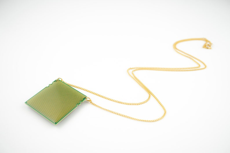 Recycled processor unisex pendant necklace  computer part image 0
