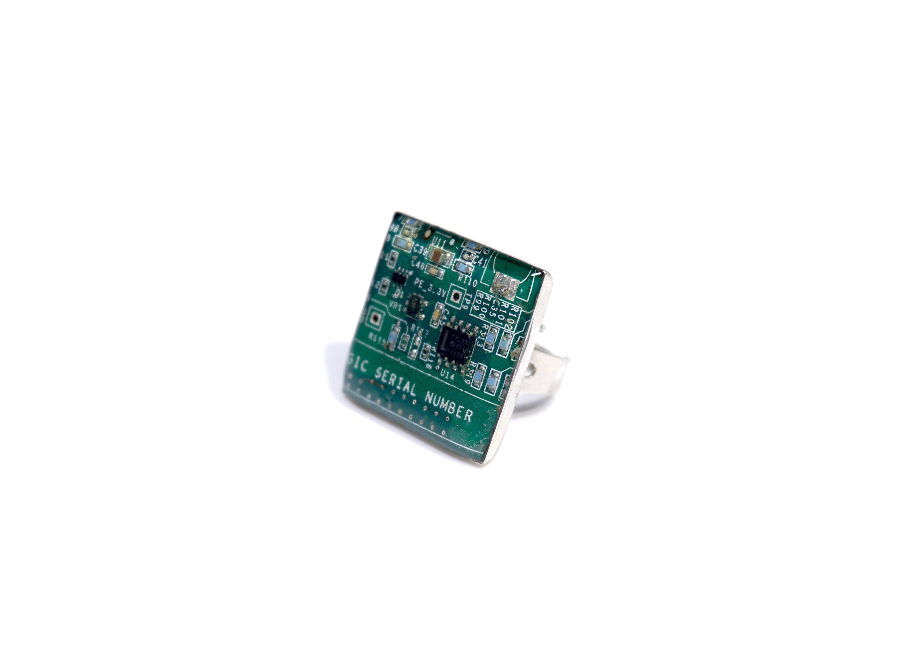 square computer circuit board ring statement cyberpunk ring etsy
