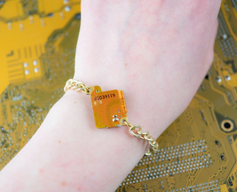 Gold Chain Charm Bracelet Upcycled Circuit Board Jewelry image 0