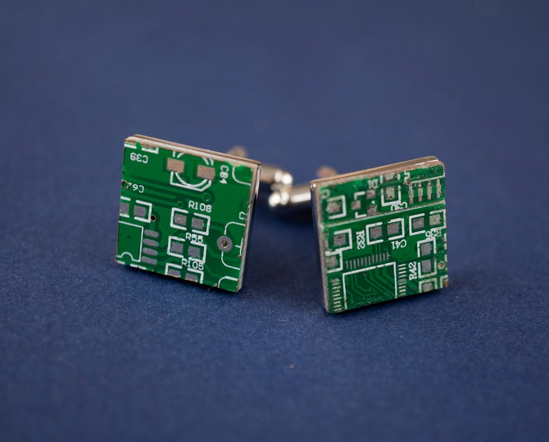Upcycled Circuit Board Cufflinks  Steampunk Computer image 0