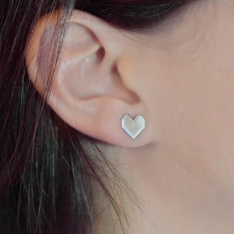 Silver Pixel Heart Stud Earrings Zelda Gamer Jewelry Geek image 0