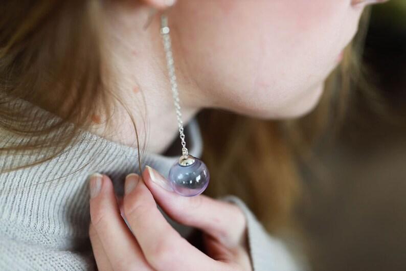 Blue Glass Earrings Minimalist Dangle Earring Long Silver image 0