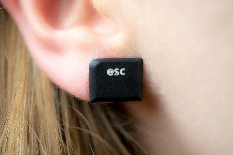 End  ESC Keyboard Earrings Recycled Earrings Tech Gift image 0