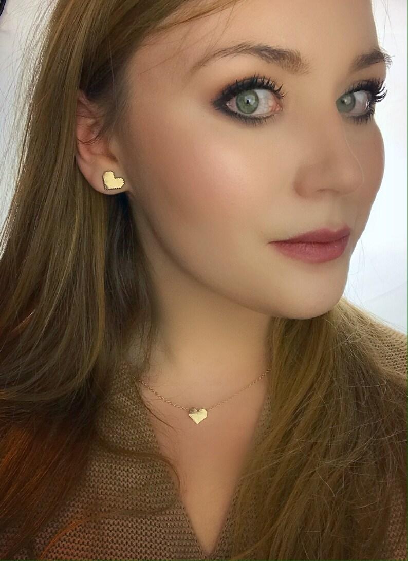 Gold Pixel Heart Choker Necklace Zelda Gamer Jewelry Geek image 0