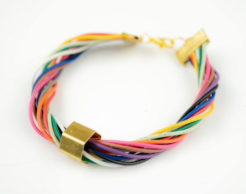 Pastel Rainbow Bracelet Gold Bow Ribbon Bracelet Computer image 0