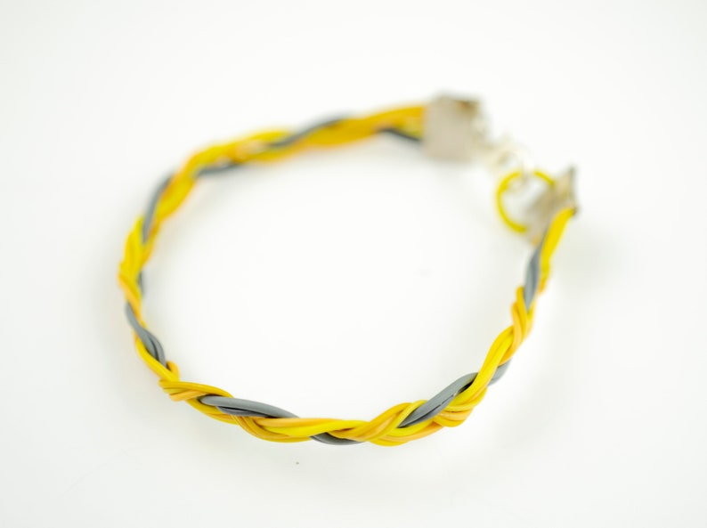 Yellow Computer Wire Bracelet Geek Chic Gift Recycled image 0