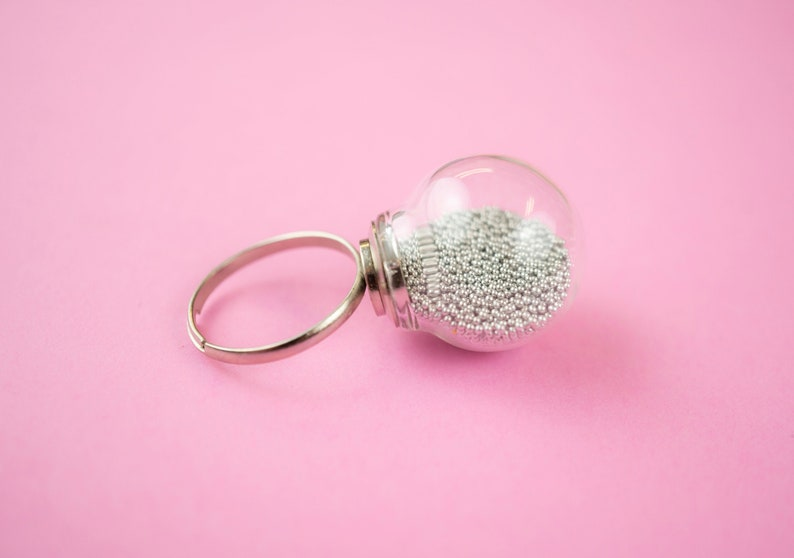 Ball Glass Beads Ring Minimalist Silver Ring Unique image 0