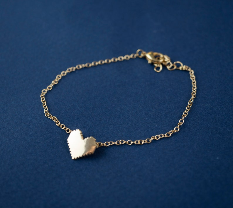 Gold Pixel Heart Charm Bracelet Retro 8 Bit Game Zelda Gamer image 0