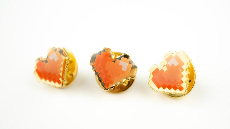 Pixel Heart Enamel Pin Set  Red Gradient Enamel and Gold image 0