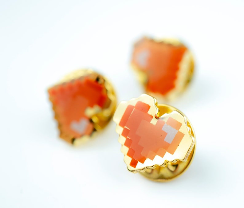 3pcs Set of Pixel Heart Enamel Pin  Red Gradient Enamel and image 0