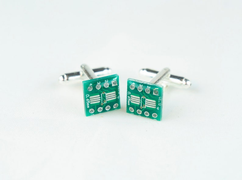 Cufflinks  Upcycled Circuit Board Steampunk Computer image 0