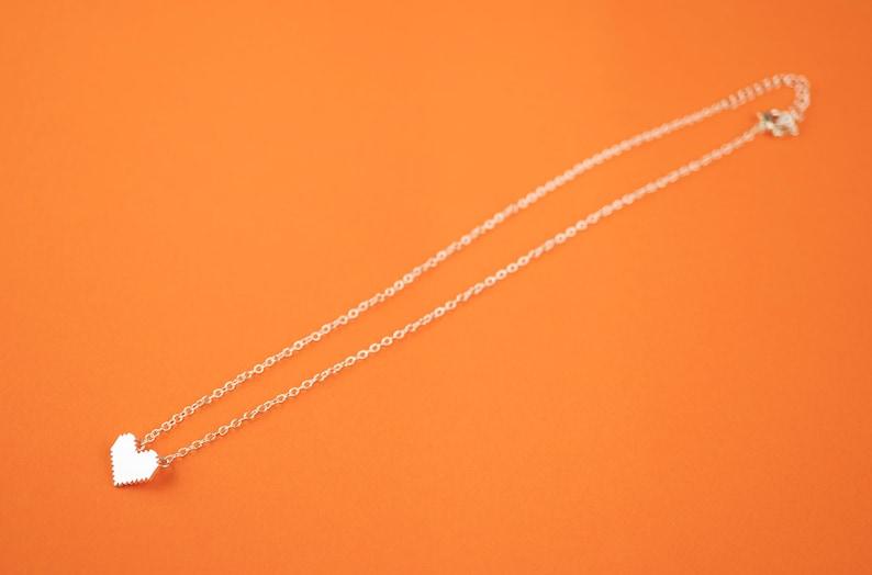 Silver Pixel Heart Choker Necklace Zelda Gamer Jewelry Geek image 0