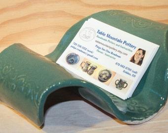 Ceramic Business Card Holder.  Ceramic Note Pad Holder.  Business Card Holder.  Ceramic Organizer