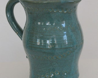 Ceramic Pitcher.  Decorative Pitcher.  Turquoise Pitcher.  Handmade.  Price Reduced.
