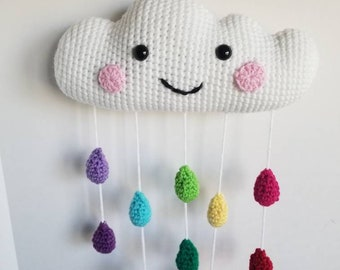 Happy Cloud Mobile, Crochet White Cloud Nursery Decor Rainbow Reversible Happy or Sleepy Face Gender Neutral Baby Shower Gift Ready to Ship