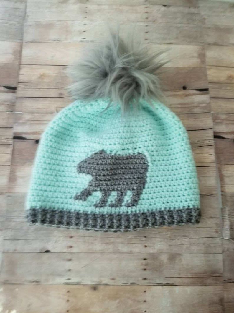 145cee0cc40 Womens Mint Slouchy Beanie Crochet Pompom Hat Gray Faux Fur
