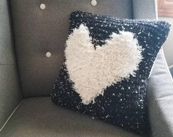 Black & White Heart Pillow Nursery Decor, Square Crochet Throw Pillow, Modern Baby Nursery, White Fluffy Heart, Living Room Cushion, 16 x 16
