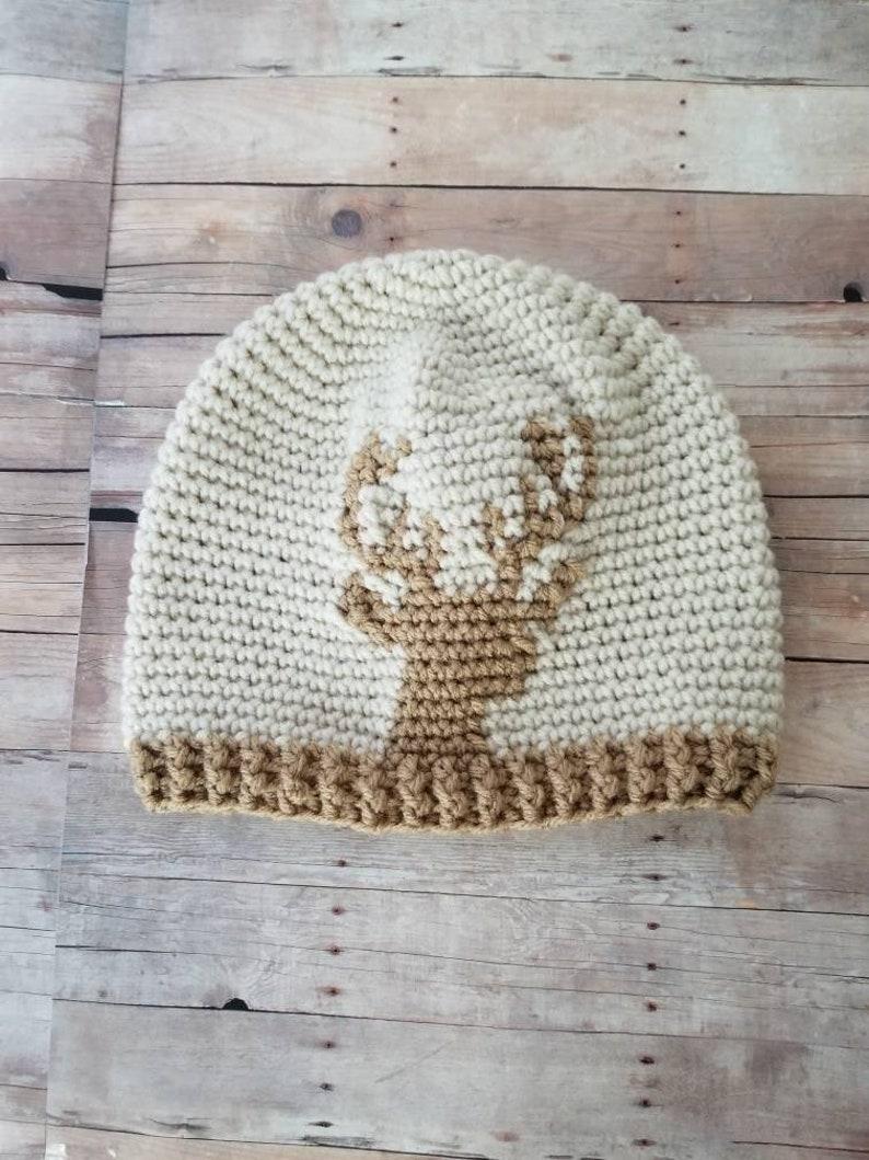 18c84fb3f3d Crochet Deer Hat Cream Slouchy Beanie Kids Crochet Pom pom
