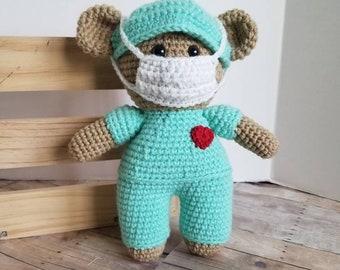 Healthcare Hero Nurse Bear, Crochet Stuffed Animal, Amigurumi Teddy Bear with Mask and Surgical Cap, Nursing Hero Doll, Ready to Ship