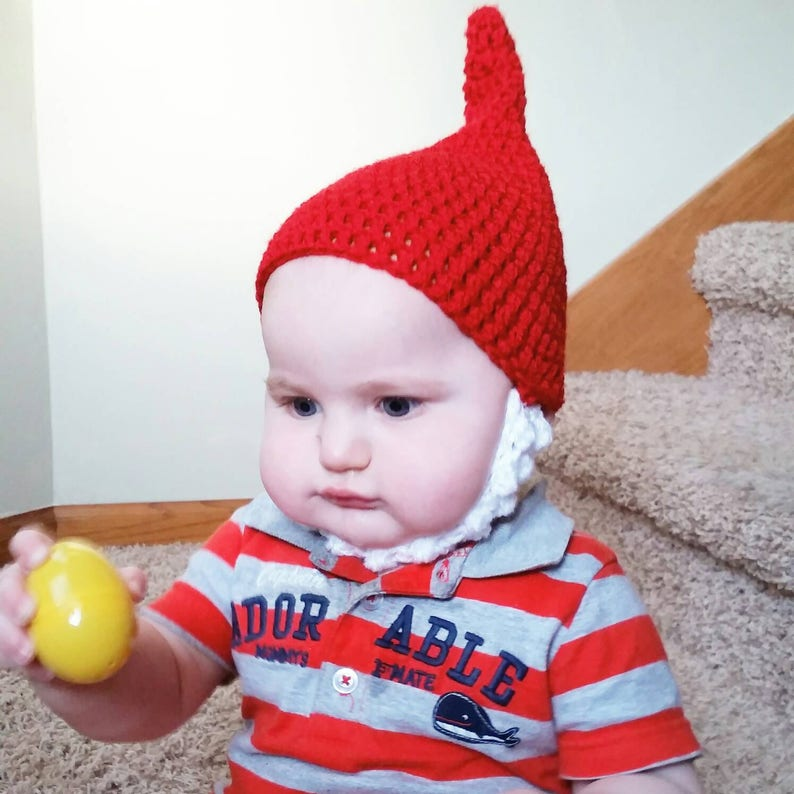 9b42987e183 Red Gnome Hat Crochet Baby Hat Newborn to Toddler Photo