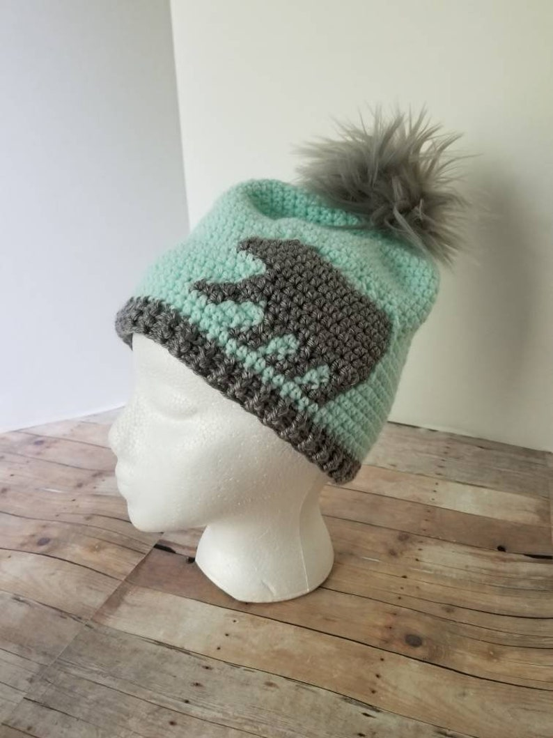 e4e647d5e21 Mint Bear Hat Gray Slouchy Beanie Crochet Pompom Hat Gray