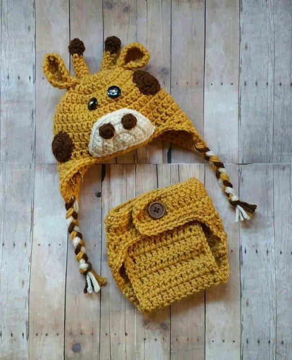 Crochet Giraffe Hat and Diaper Cover Newborn Photo Prop Baby  bc1b3e24e50