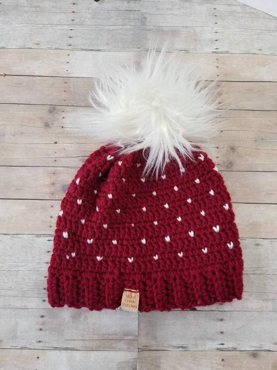 4ed437917dc Red Snowflake Slouchy Beanie Crochet Pompom Hat Cream Faux