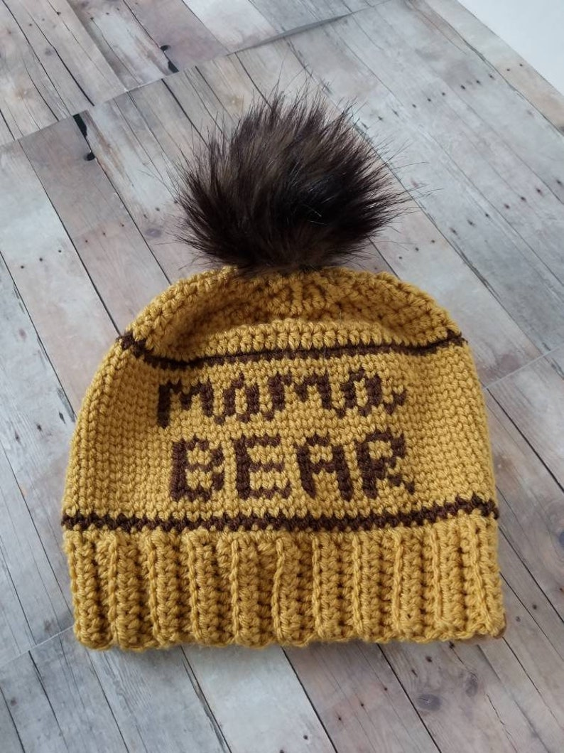 c8de2aa90ee Mama Bear Hat Womens Yellow Crochet Beanie with Fur Pom Pom