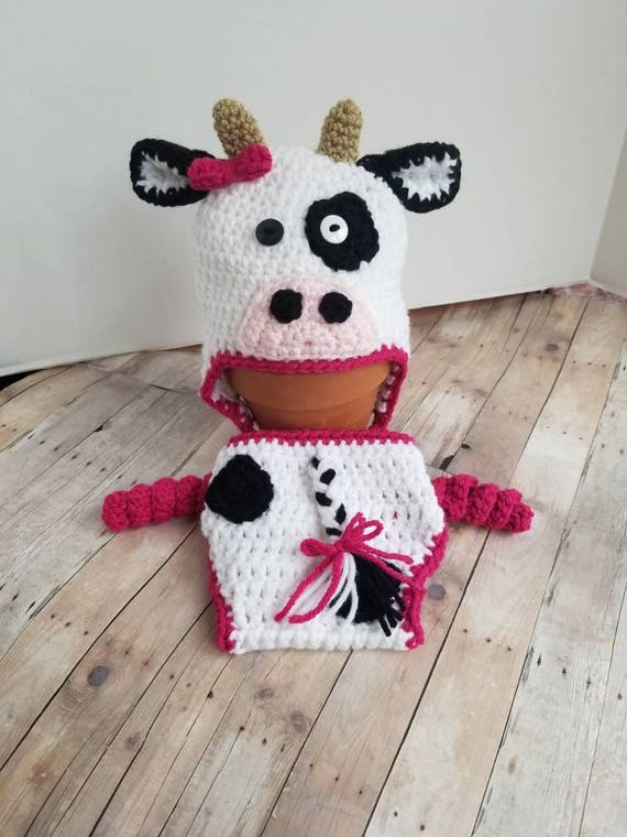 Newborn Cow Outfit Crochet Cow Hat and Diaper Cover Newborn  a2df7a2cbb7
