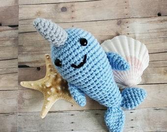 Baby Narwhal Crochet Stuffed Animal Ocean Nursery Decor Gender Neutral Baby Shower Gift Amigurumi Narwahl Ready to Ship