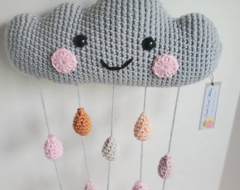 Happy Cloud Mobile Crochet Grey Cloud Nursery Decor Rainbow Reversible Happy or Sleepy Face Gender Neutral Baby Shower Gift Ready to Ship