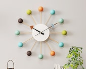 Mid Century George Nelson Ball Clock, Painted Solid Wood Silent Non Ticking Decorative Modern Wall Clock (Ball Clock in Multicolor)