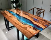 Custom Epoxy Resin Rock Ocean Wave Resin Coffee Table Wood Plank Dining Table Counter Desk Coffee Table