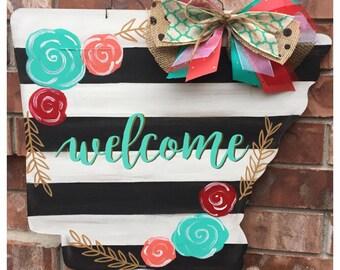 Arkansas Door Hanger, Spring Door Hanger, Stripes and Floral, Spring Wreath, Arkansas Wreath, Welcome Door Hanger, State Door Hang