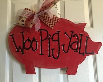 Pig Door Hanger, Arkansas Door Hanger, Pig Wreath, Farm Door Hanger, Arkansas wreath, Woo Pig, Arkansas Decor, Woo Pig Sooie, Pig Decor