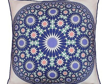 43 x 43cm Geometric Pattern Design Moroccan Tiles - Round Blue White Multi Co...