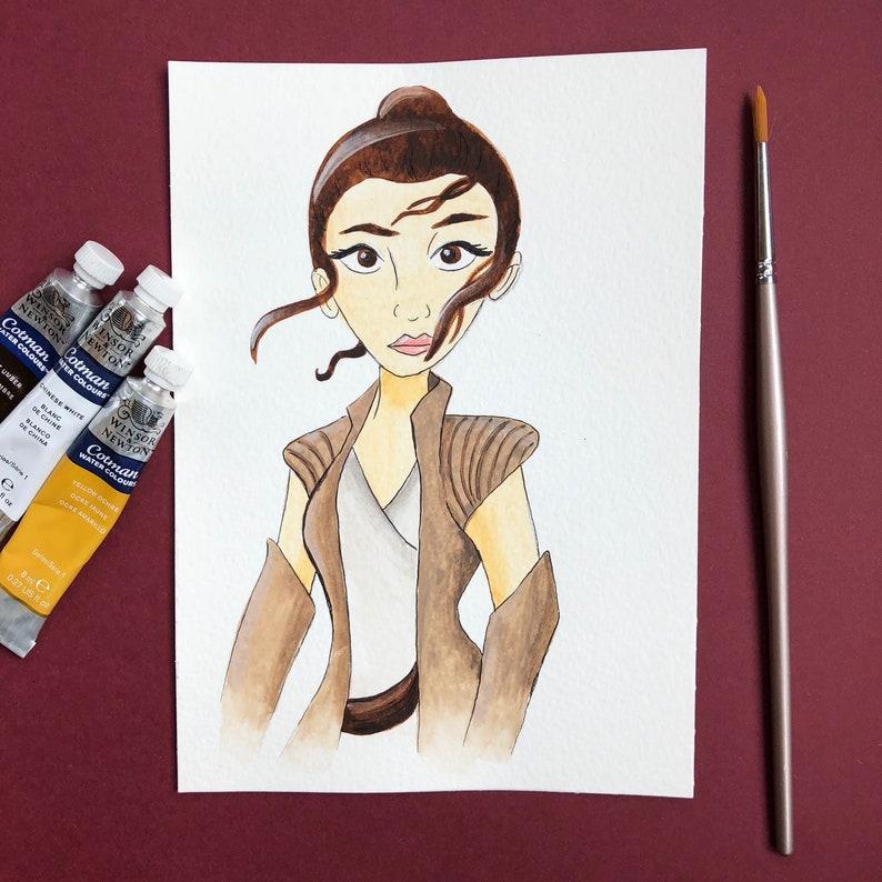 e609c6435 Rey Star Wars 5x7 Watercolor Illustration Art | Etsy