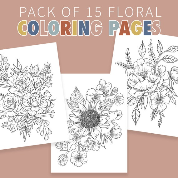 Floral Illustration Coloring Pages for Adults Pack of 15