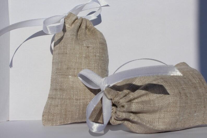 Linen favor bag 50 pcs ~ Drawstring linen bags Oatmeal linen bags Wedding favor bags French gift bags Rustic wedding favor
