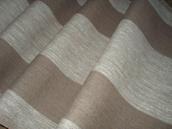 Pure Linen flax Fabric Canvas Decorator Upholstery Gray /& blue Striped 3 yard
