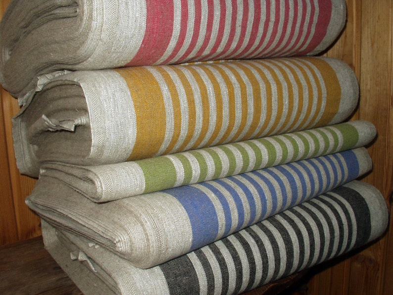 French Canvas pure Linen fabric Narrow strips Upholstery image 0