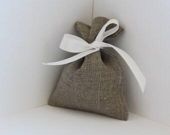 Linen gift bags - 10 pcs Natural linen bags - Wedding favor bags - jewelry pouch - Rustic wedding favor - Linen favor bag - linen small bags