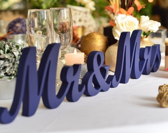 Painted In Navy Blue Mr Mrs Wedding Reception Sign Mr And Etsy