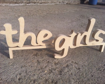 the girls, the guys, wedding table decor wood sign rustic primitive