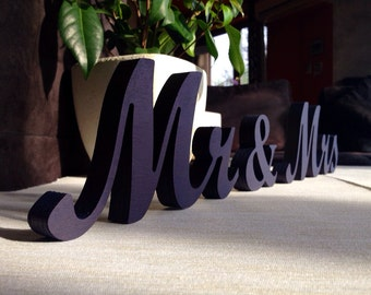 Head table Mr & Mrs sign painted in  Royal Blue. Wedding decoration. Mr and Mrs wooden letters for sweetheart table