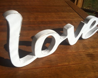 any color LOVE wooden distressed sign