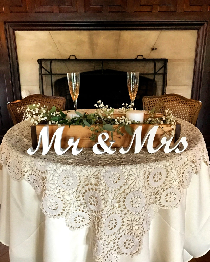 Mr and Mrs wedding signs table decoration. Rustic wedding image 0