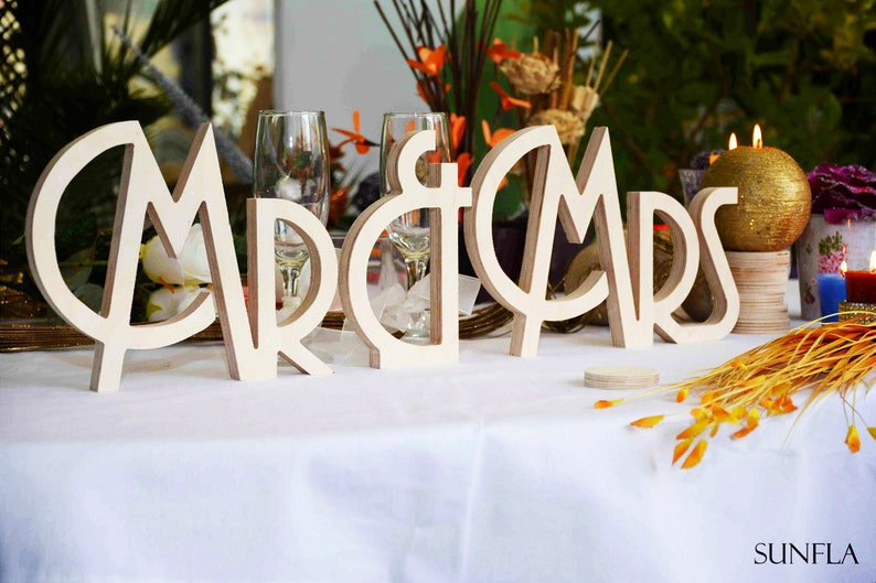 Gatsby style Art deco wedding signs Mr. & Mrs.  wooden image 0